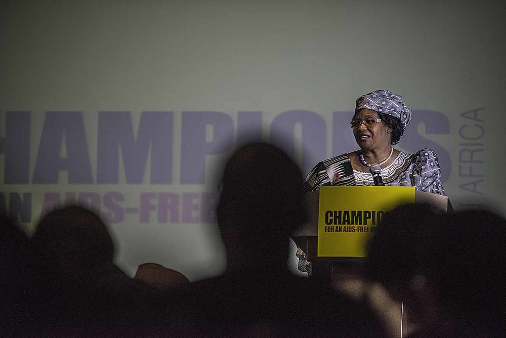 Former President of Malawi, Joyce Banda, addresses guests at the Champions Gala Dinner.
