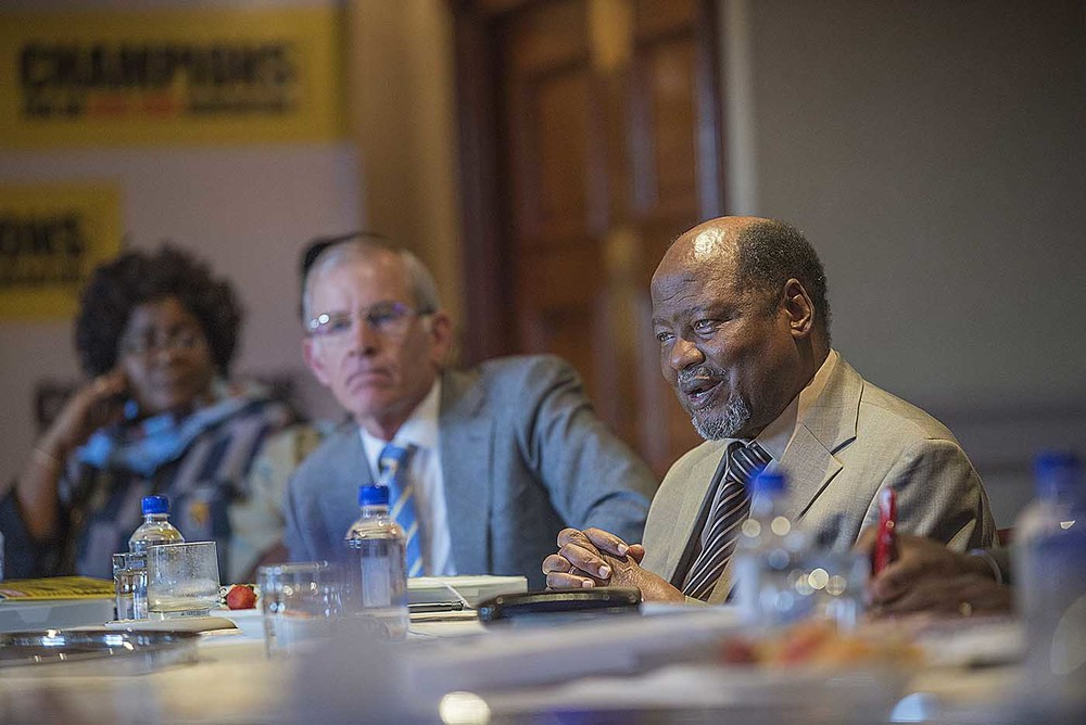 Former President of Mozambique, Joaquim Chissano, takes part in the Champions board meeting.