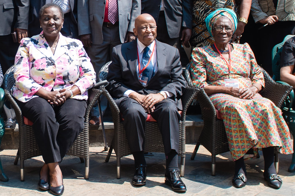 H.E. Wandira- Kazibwe, H.E. Mogae and Prof. Were