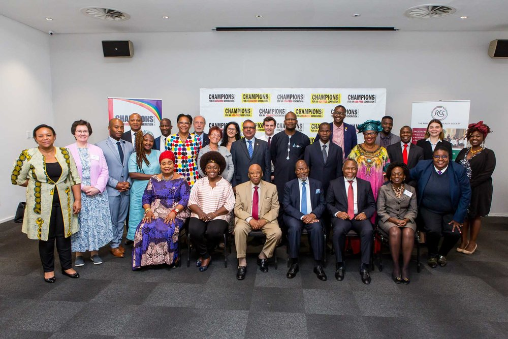 Champions, H.E. Festus Mogae, H.E. Joaquim Chissano and H.E. Kgalema Motlanthe, with Parliamentarians, Civil Society Organization Representatives, UNAIDS, Royal Commonwealth Society and Access Chapter 2 at the HIV, Health & Inclusion Dialogue in Cape Town, South Africa on 21 February 2019.  Photo Credit: The Royal Commonwealth Society/Champions for an AIDS-Free Generation in Africa