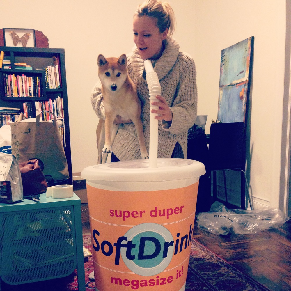 Custom giant soda cup (cardboard, plastic, vinyl, PVC)  Dog not included.