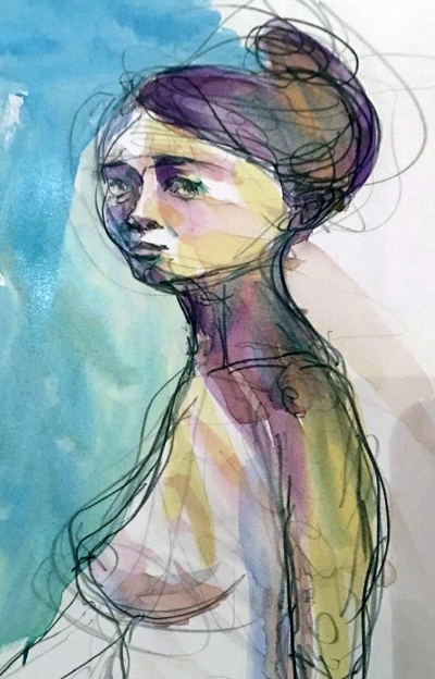 Watercolor sketch during figure drawing class. Kate Barsotti - 2016, all rights reserved.