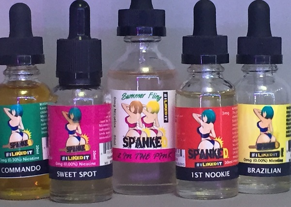 sexy branding is what spanked is all about with their ejuice lineup