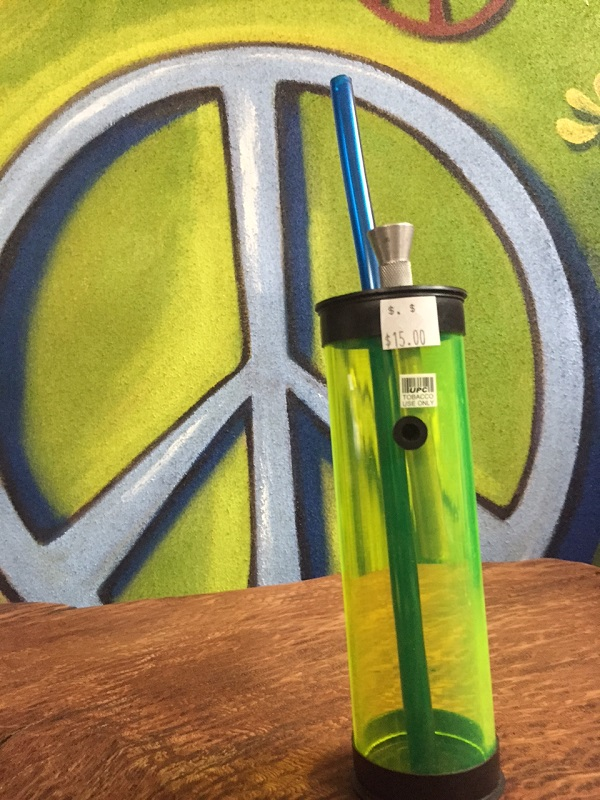 green water pipe acrylic with straw