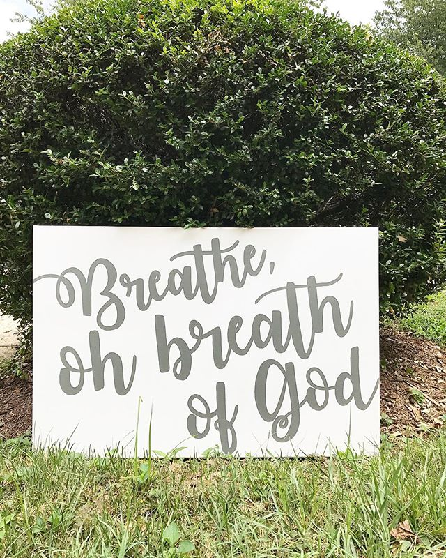 Thankful today for a sweet friend who made something for our whole family, and all our visitors to see and be reminded. Breathe out the bad, and in with the Good 😊🙏🏻 #thethankfulproject