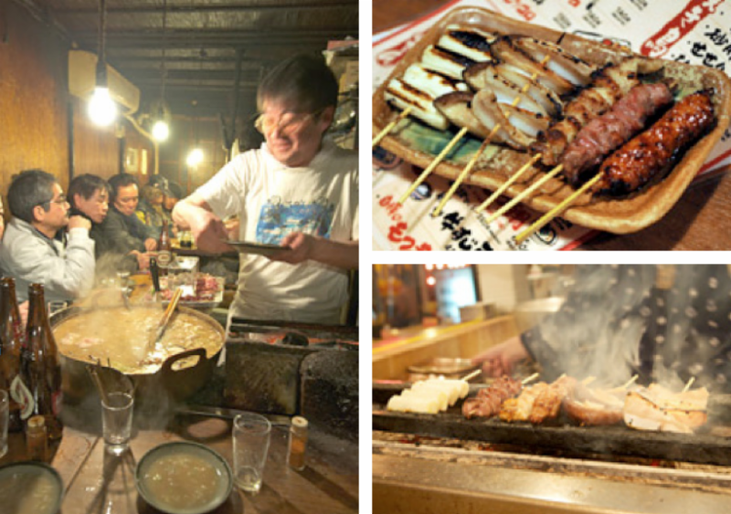 LEFT: In Tokyo's Shinjuku district, a typical yokocho in Japan, motsuni stew is cooked up in big pots. ABOVE: Along with motsuni, yakitori is a standard menu item in yokocho establishments. BELOW: Smoke from grilling the yakitori flows outside the pubs and lures in customers.
