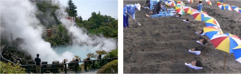 LEFT: Hot springs in Kagoshima. RIGHT: The sand bath      warms bathers to the core.
