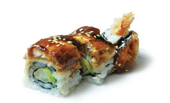 "Sushi ""Dragon Roll"" includes crunchy tempura shrimp, cucumber, avocado and sweet unagi kabayaki."