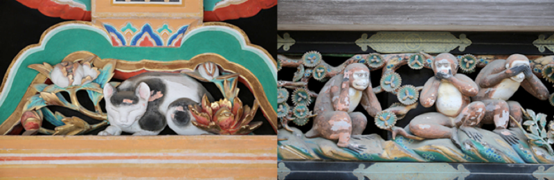 Inside Toshogu Shrine there are many charming animal carvings including a sleeping cat and the famous three monkeys.