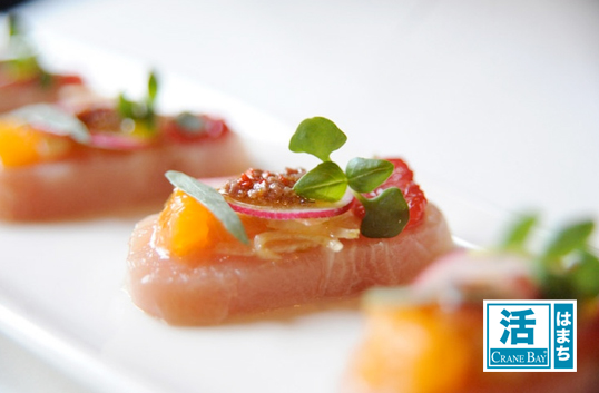 Katsu Hamachi Crudo of  blood orange, radish, marinated fennel and yuzu citronette