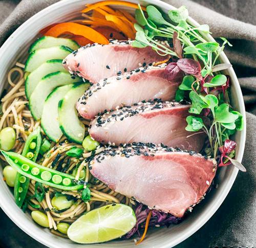 Sesame Crusted Katsu Hamachi with Edamame Soba Noodle Salad