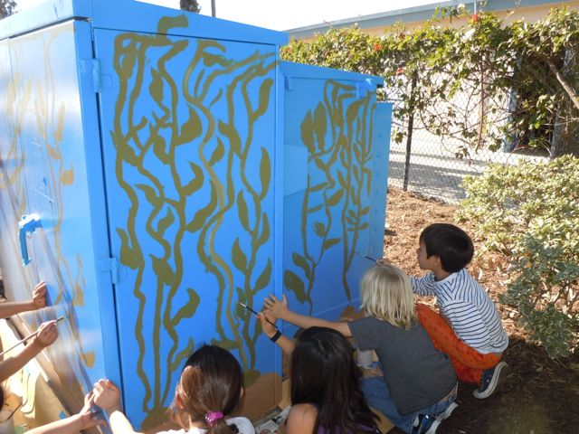 Starting at the Cardiff Elementary school, you'll see this utility box painted by some of the students!