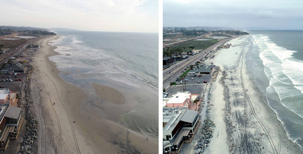Before and after photos of Cardiff State Beach. Photos provided by Build NCC.