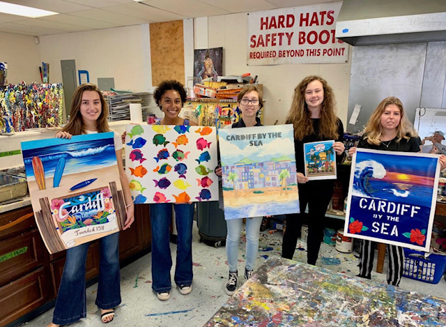 Student Artists from left to right: Marina Alberti, Madi Logan, Jenna Price, Lola Taylor and Marisa Prange. Absent from photo: Hannah Elliott and Sienna Griffin.