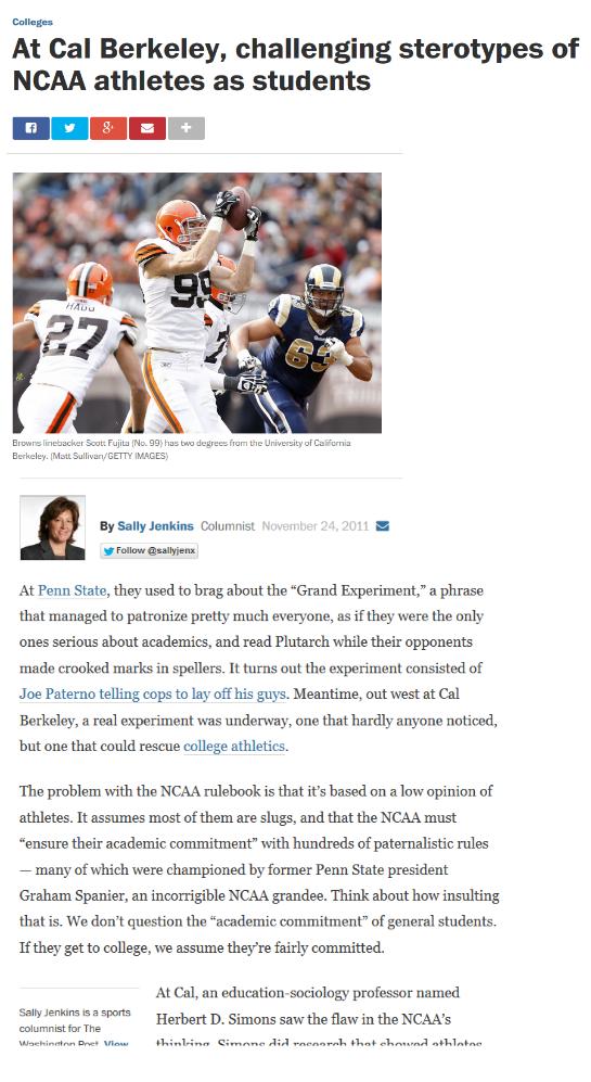 Washington Post: Professor Van Rheenen challenges cultural assumptions of the NCAA student athlete.