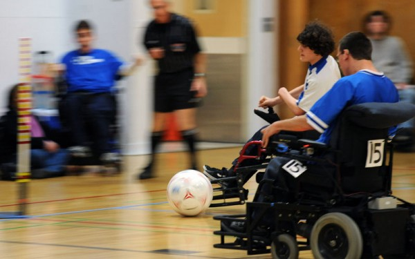 Photo of BORP Power Soccer athletes in action