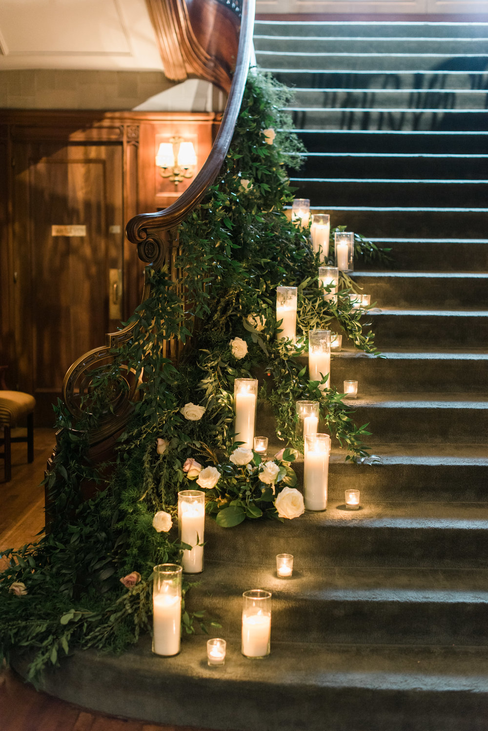 callanwolde wedding greenery staircase