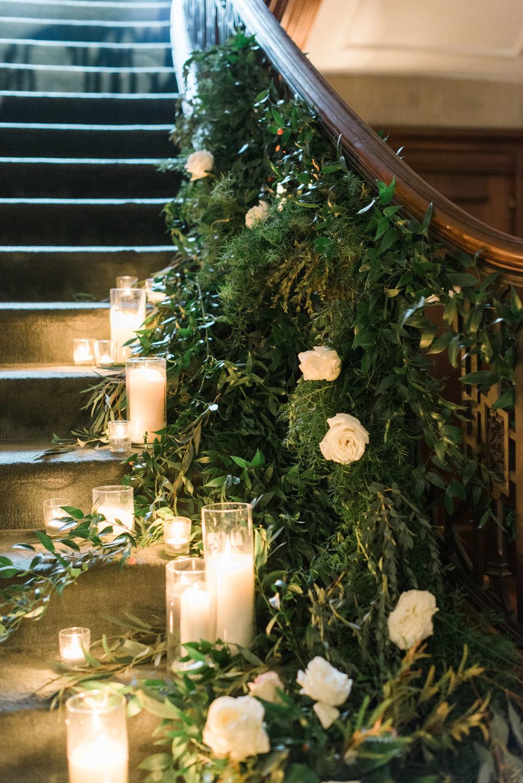 greenery staircase callanwolde wedding
