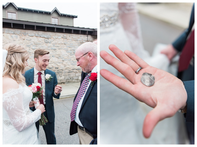 550 Trackside is right next to a railroad track so one of the guests put a quarter on the tracks before a train came by to give to the couple as a memento for the day!