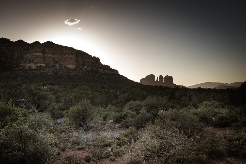 The Dynamic range of the Fuji X-Trans sensor (its ability to record highlight and shadow information) is nothing short of remarkable. Here, shooting into the sunset toward Cathedral Rock from Phone Trail in Sedona, AZ...
