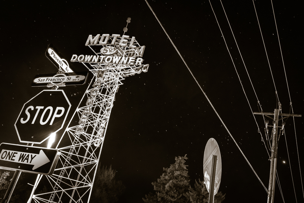 It does night photography, too, here along Historic Route 66 in Flagstaff.