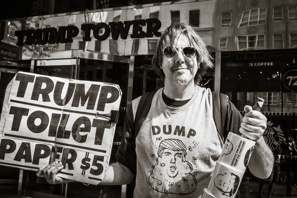 Protester Outside Trump Tower   New York 2016