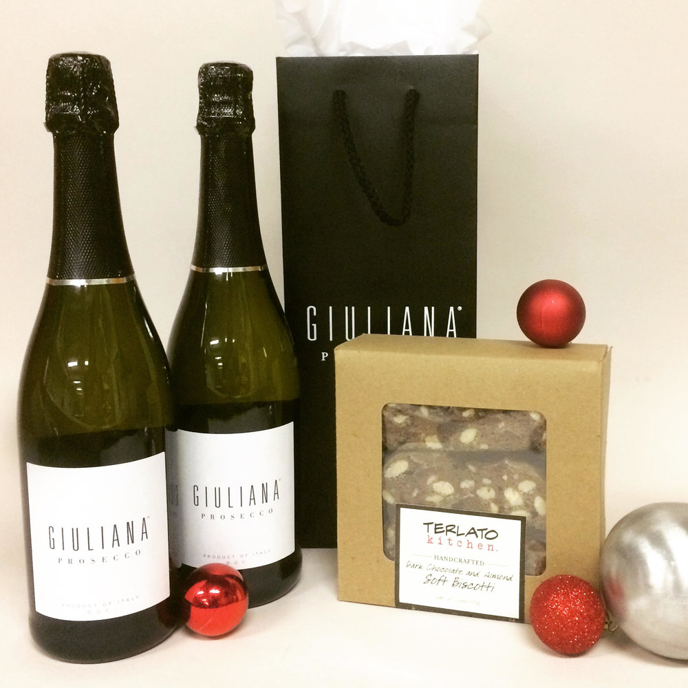 Giuliana Prosecco Gift Set : I'm not going to lie...I am obsessed with my own brand new Prosecco. To make things even better, I'm offering it in a special gift set exclusively for the holidays -- two bottles of Prosecco plus my favorite chocolate and almond biscotti...plus a note from me and two signature wine bags so you can give as separate gifts. The ultimate holiday hostess gift!