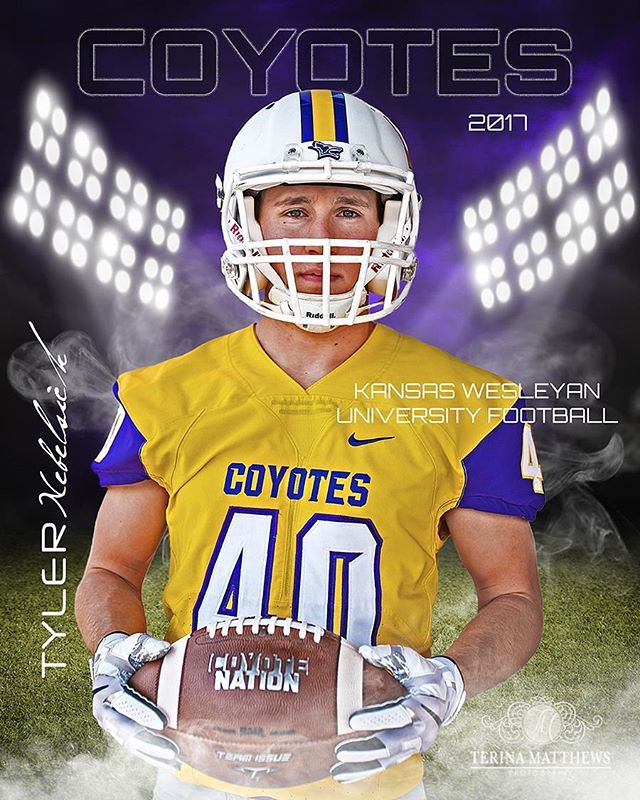 Another version of this image...I'm really loving all these #football images. Customized it to match #team colors. @kwucoyotes #kansas #kwu #kansaswesleyan #collegefootball #college #senior #senioryear #classof2018 #athlete #seniorpictures