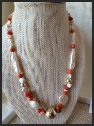 Coral and Fresh Water Pearl necklace with Sterling Silver Focal
