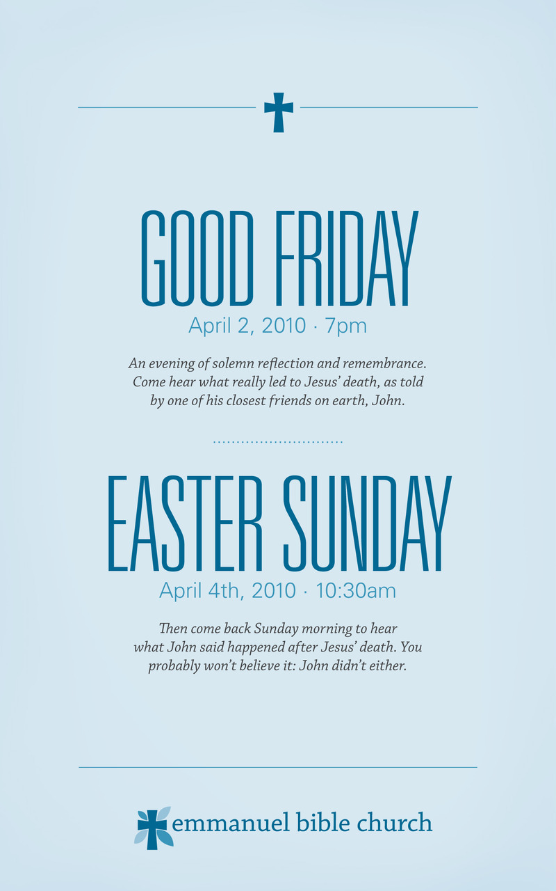 If you're in the Greenville, South Carolina area, and are looking for a church to attend on Good Friday or Easter, I can gladly recommended  ours .