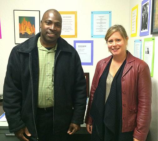 Julio Jefferson (left) standing with DOR Counselor Teresa Cole (Terri,right)
