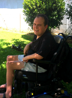 James Donnelly in power wheelchair