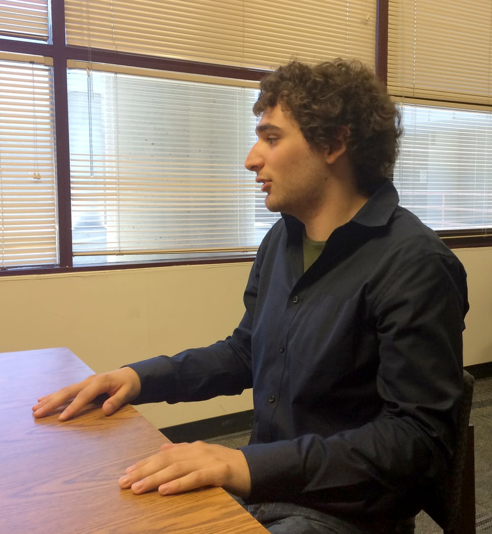 Jordan Gonzales being interviewed at the San Jose DOR office.
