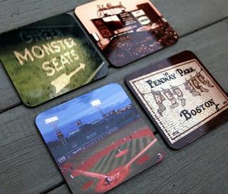 red sox fenway park coaster set, boston massachusetts