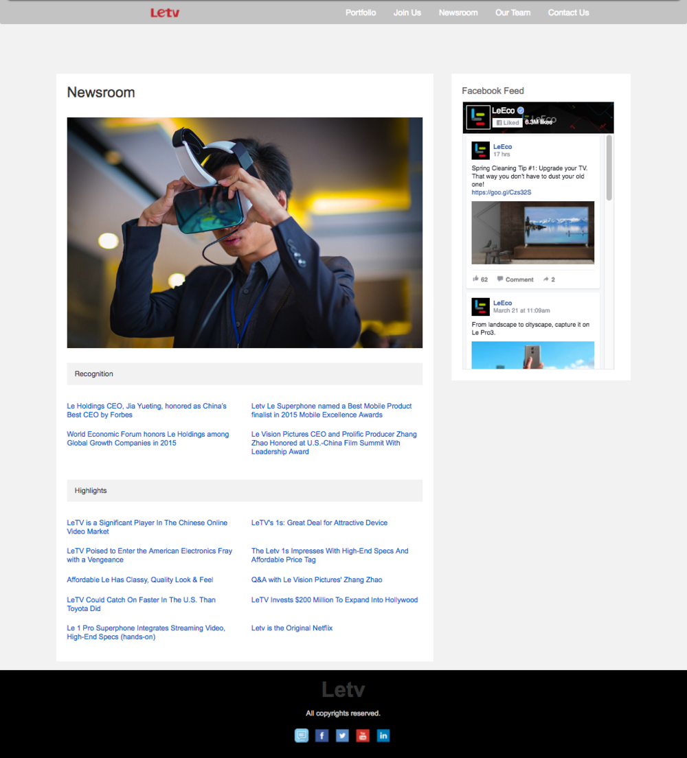Letv Newsroom page
