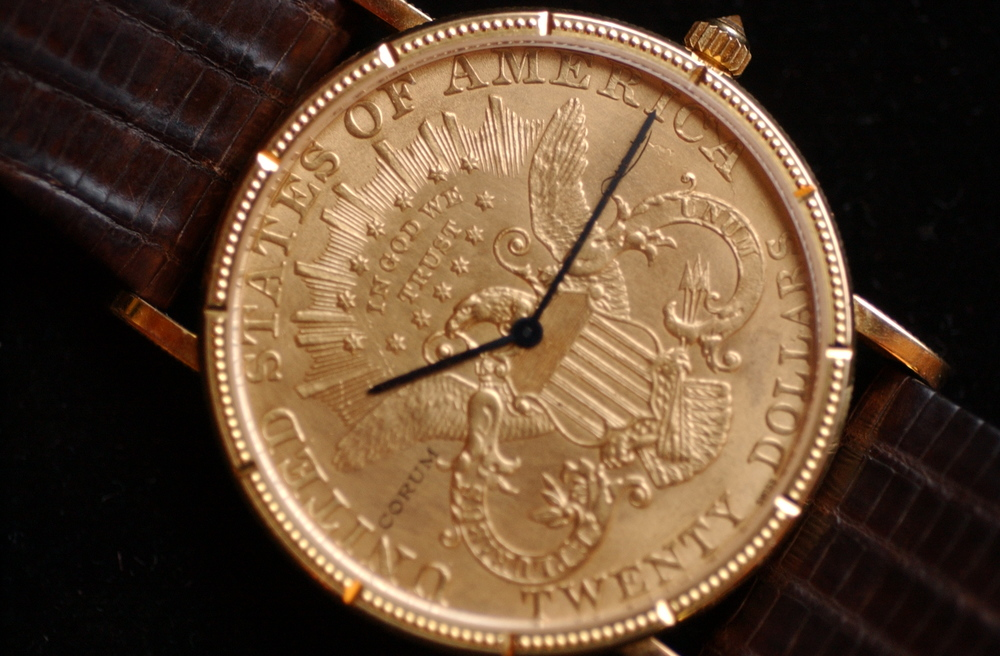 BEAUTIFUL TIME: This Corum watch, fashioned from a 1904 $20 gold piece, is part of the inventory of Estate Jewelers of Redding, which specializes in antique and heirloom watches and jewelry. The small shop is downtown near the Cascade Theatre.