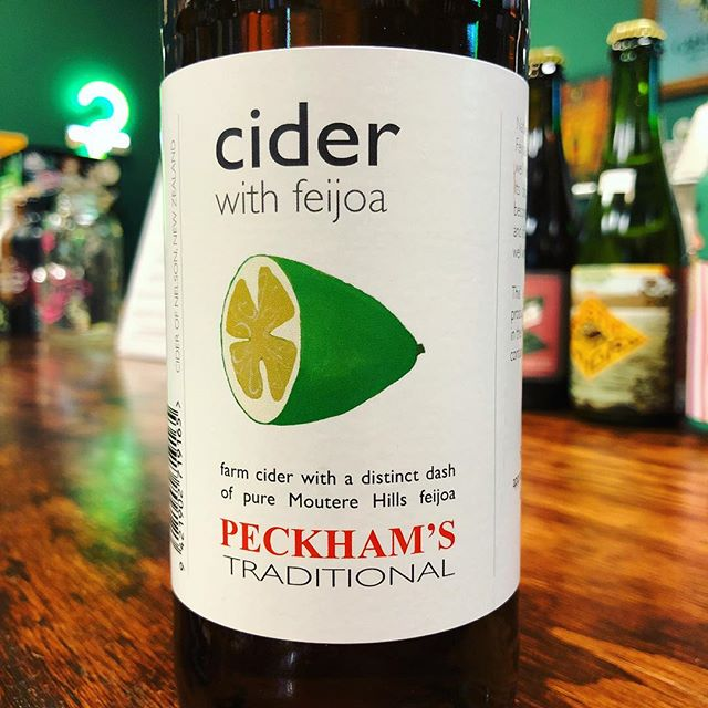"Feijoa or ""Pineapple Guava"" is an iconic New Zealand fruit with complex flavors that bring to mind Guava, Strawberry, Pineapple, Pear, and Mint. This @PeckhamsCider variety makes great use of the fruit, picking ripe feijoas sourced from a local grower to allow the full characteristics of the fruit to come through. This one is for our true cider fans!"