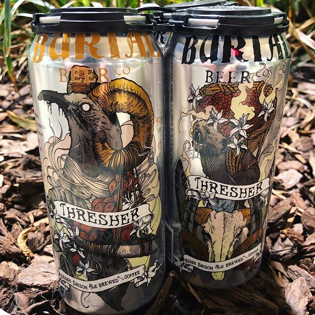 @BurialBeer Thresher Coffee Saison is built from the ingenuity of #NorthCarolina artisans. Crafted with @RiverbendMalt & @CounterCultureCoffee, this beer maintains a beautiful golden color. Look as bright as the sun, but be as bold as the stars. Available on draft or in 4pks to-go!