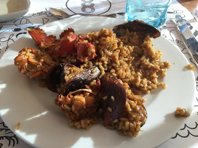My first Spanish paella at #BooRestaurant. Awesome beach club and restaurant, right on the beach in Barcelona.