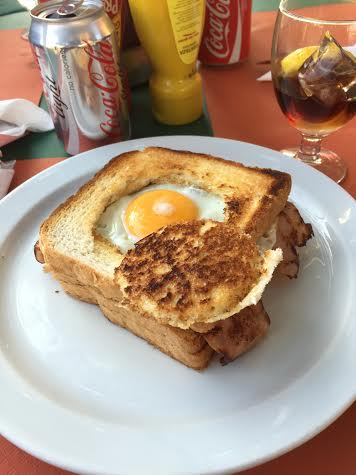 On our way to Park Guell, we stopped at a small cafe and I got my first hungover Spanish breakfast sandwich with cheese, bacon and a fried egg to top it off.