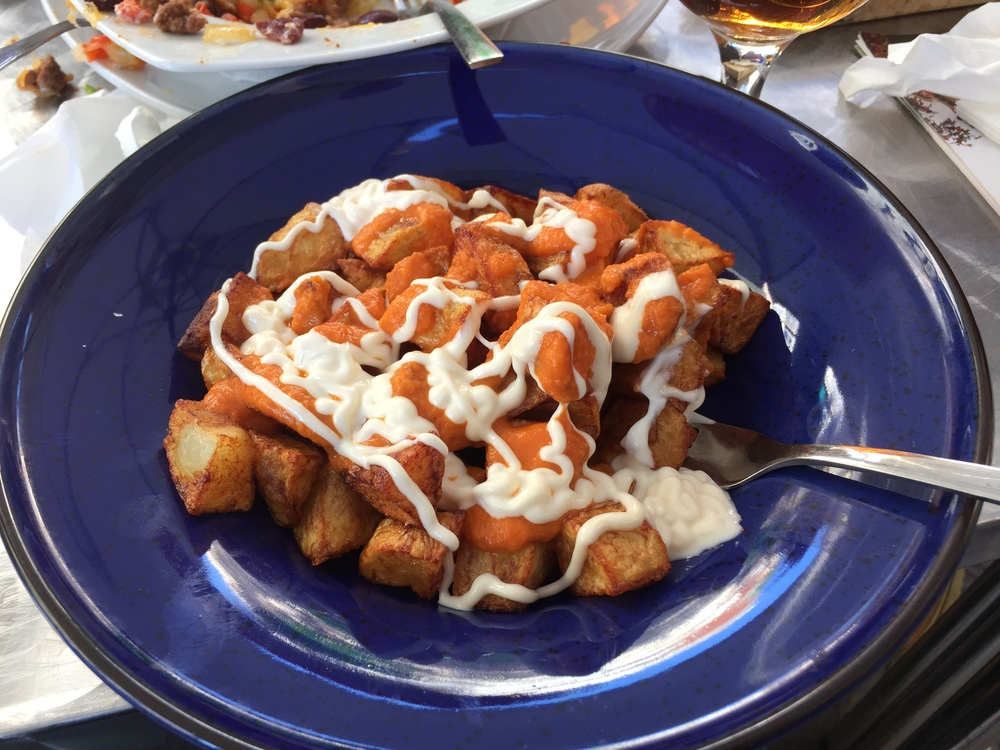 My first plate of patatas bravas at #ChillBarBarcelona. The verdict: Muy bien!