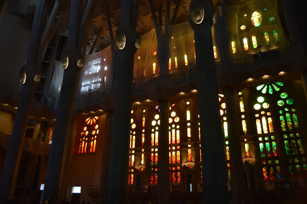 Another shot of the church's forest-like interior. Even though it was a cloudy day outside, the way the glass windows bring in the natural light is incredible and something Gaudí specifically designed the church to do.