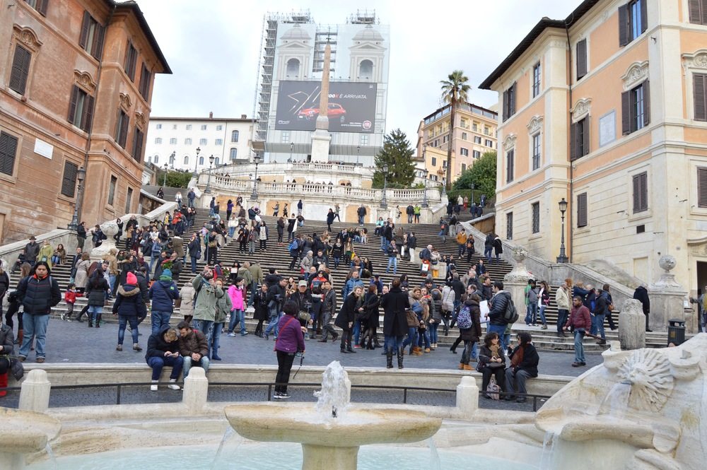The Spanish Steps (and its accompanying construction and Fiat ad) in all of their glory. Photo by Max Siskind.