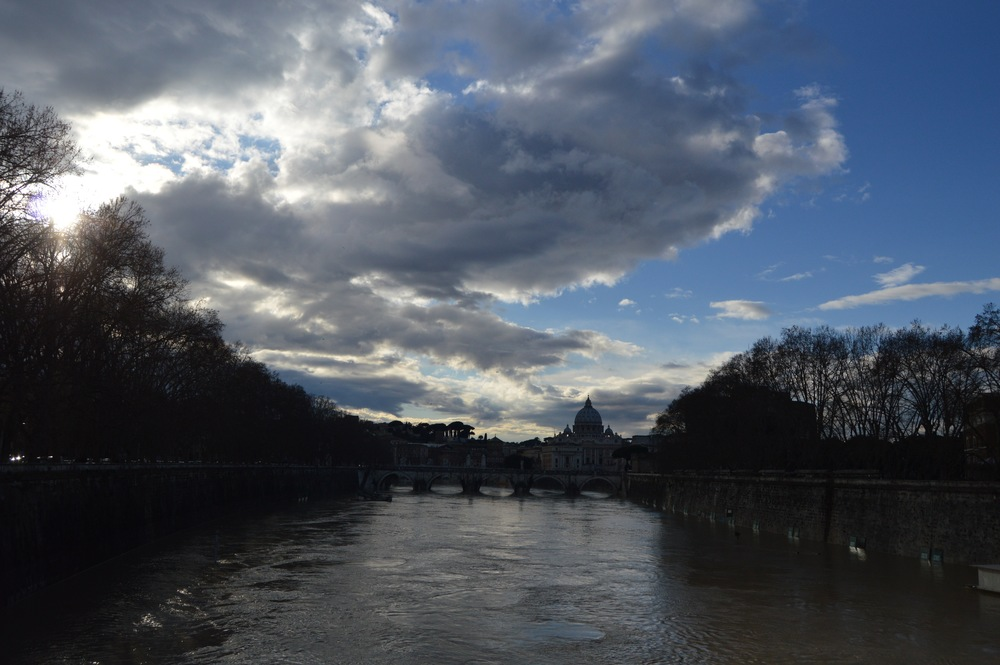 View of St. Peter's Basilica from across the Tiber River. Photo by Max Siskind.