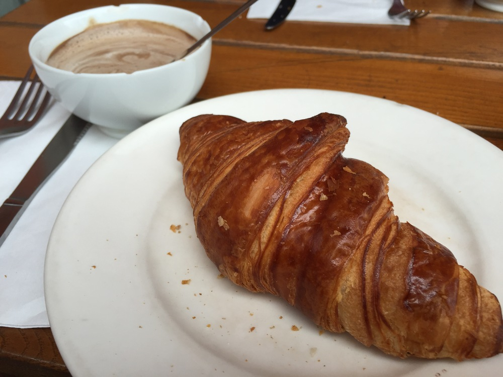 Come on, just look at that croissant! What could be better. Also, that's hot chocolate, not coffee. Sorry coffee-lovers.  Photo by Max Siskind.