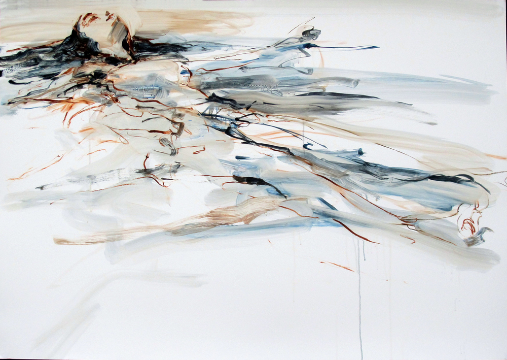 "Floating 8  2014 Oil on paper 28"" x 40"""