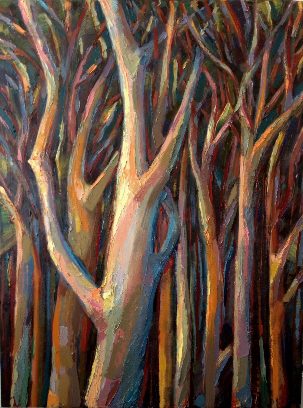 "Trees 4  2012 Oil on canvas 48"" x 36"""