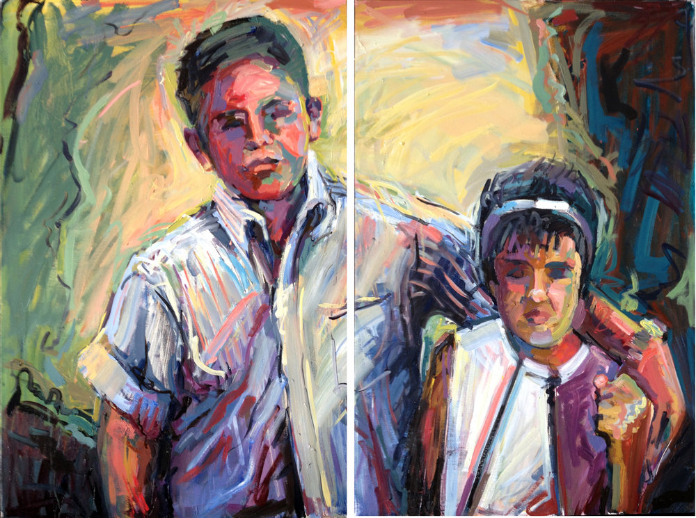 "Grabbing (diptych)  2013 Oil on canvas 36"" x 48"""