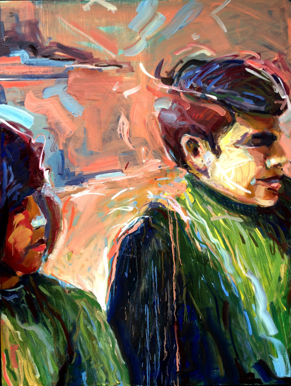 "Matching Green Turtlenecks  2013 Oil on canvas 54"" x 41"""