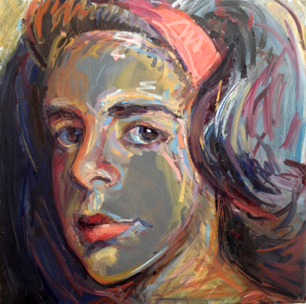 "Red Headband  2013 Oil on canvas 24"" x 24"""
